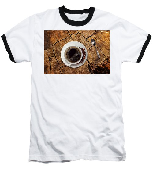 Cup Of Coffe On Wood Baseball T-Shirt