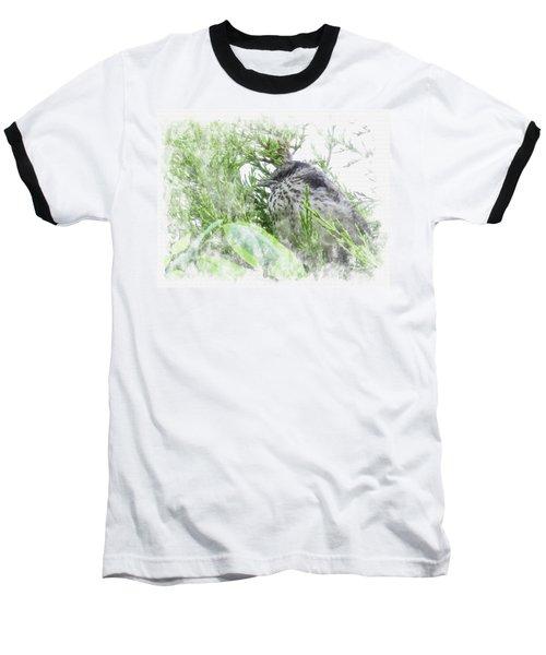 Baseball T-Shirt featuring the digital art Cute Little Bird On Tree by Eduardo Jose Accorinti