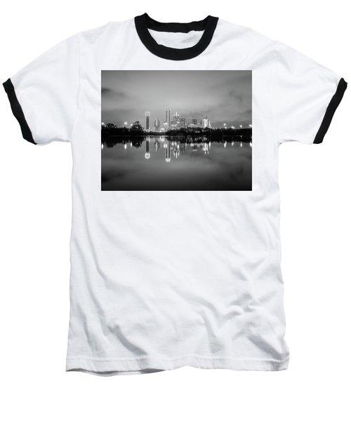 Dallas Cityscape Reflections Black And White Baseball T-Shirt