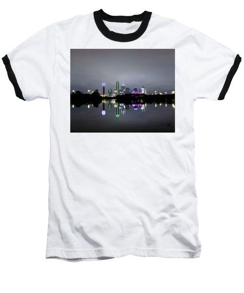 Dallas Texas Cityscape River Reflection Baseball T-Shirt