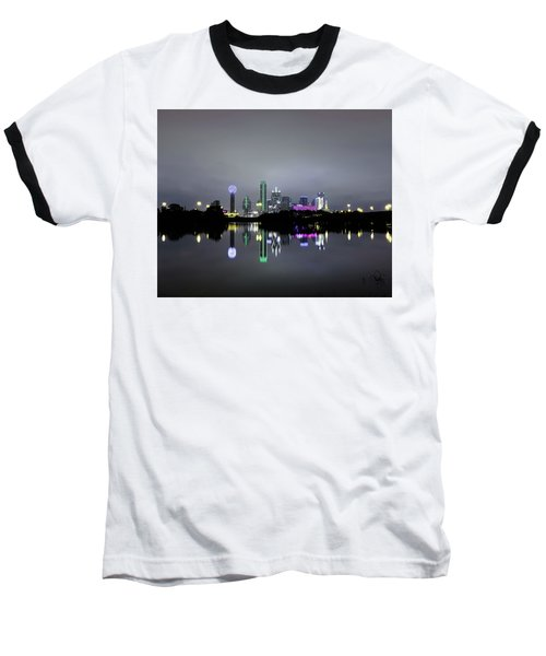 Dallas Texas Cityscape River Reflection Baseball T-Shirt
