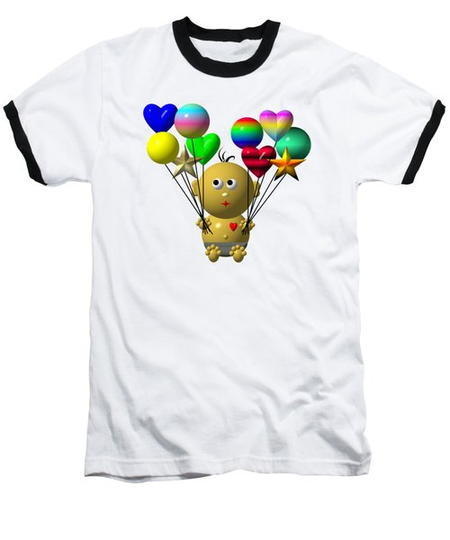 Baseball T-Shirt featuring the digital art Dark Skinned Bouncing Baby Boy With 10 Balloons by Rose Santuci-Sofranko