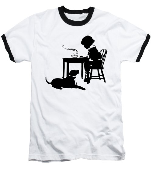 Dining With The Dog Silhouette Baseball T-Shirt