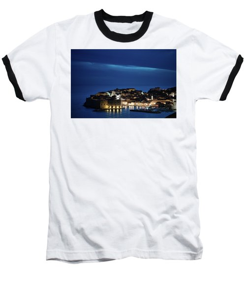 Dubrovnik Old Town At Night Baseball T-Shirt
