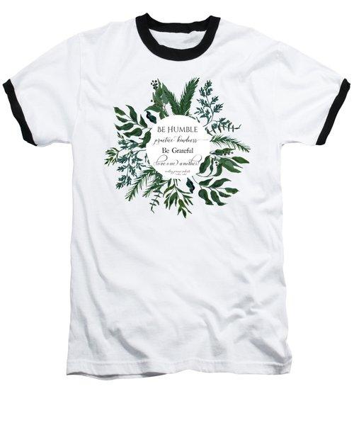Emerald Wild Forest Foliage Watercolor Baseball T-Shirt