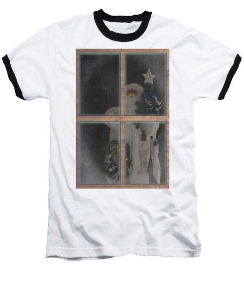 Father Christmas In Window Baseball T-Shirt