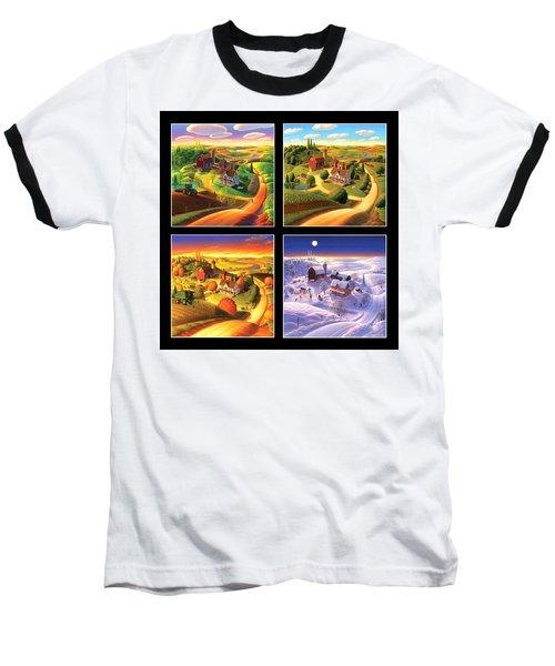 Four Seasons Squared/black Baseball T-Shirt