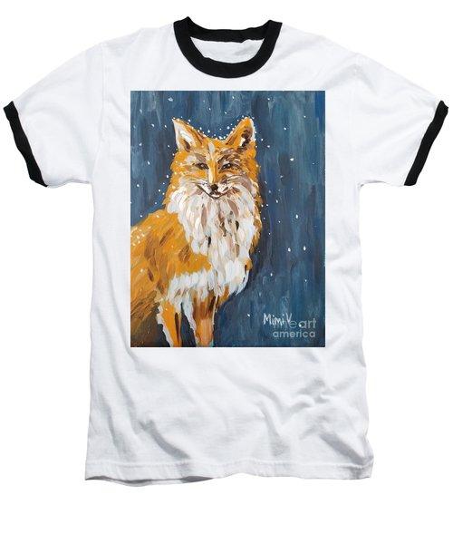Fox Winter Night Baseball T-Shirt