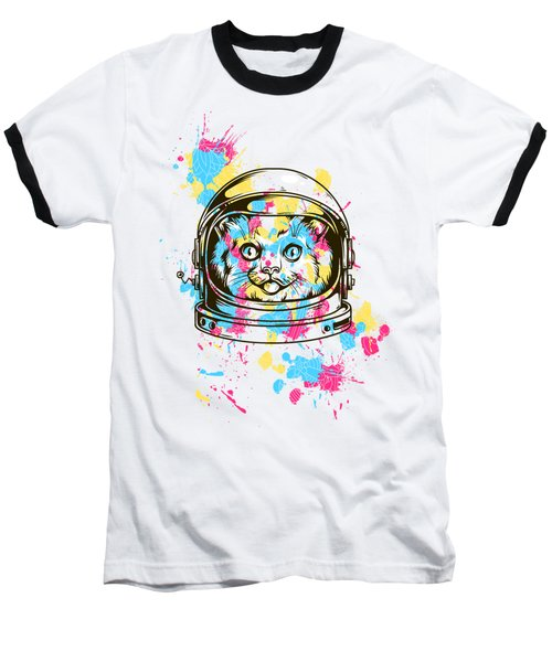 Funny Colorful Cat Astronaut Baseball T-Shirt