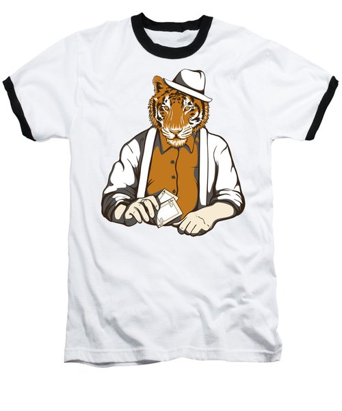 Gambling Tiger Baseball T-Shirt