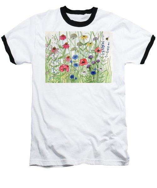 Garden Flower Medley Watercolor Baseball T-Shirt