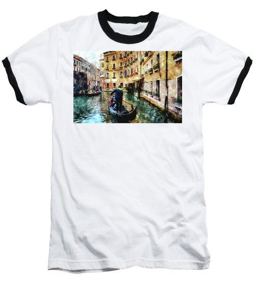 Baseball T-Shirt featuring the digital art Gondola Traffic Near Piazza San Marco In Venice by Eduardo Jose Accorinti