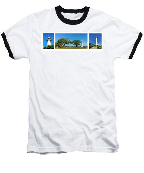 Grand Old Lighthouse Biloxi Ms Collage A1e Baseball T-Shirt