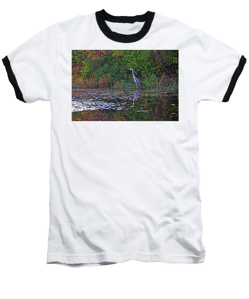 Great Blue Heron In Autumn Baseball T-Shirt