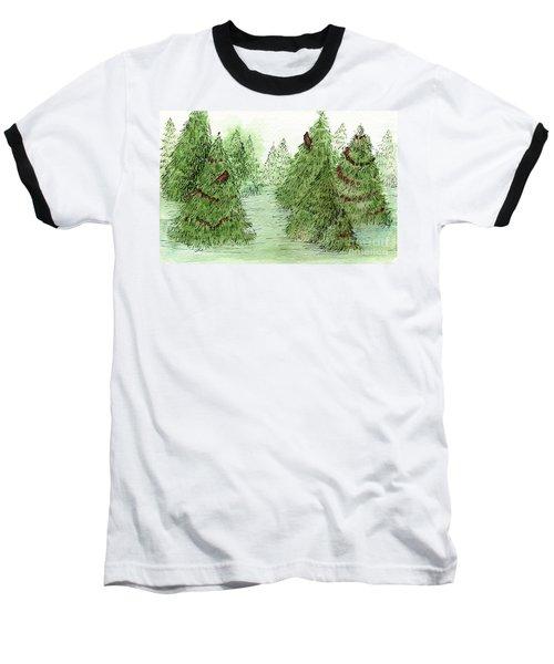 Holiday Trees Woodland Landscape Illustration Baseball T-Shirt