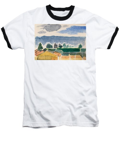 Houses, Trees, Mountains, Clouds Baseball T-Shirt