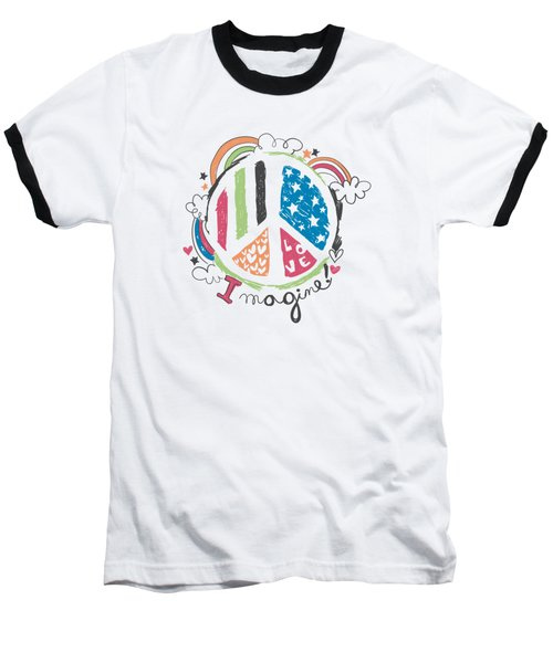 Imagine Love And Peace - Baby Room Nursery Art Poster Print Baseball T-Shirt
