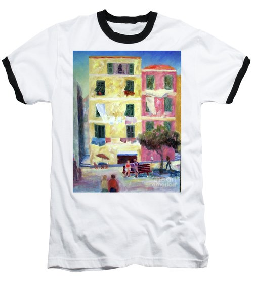 Italian Piazza With Laundry Baseball T-Shirt