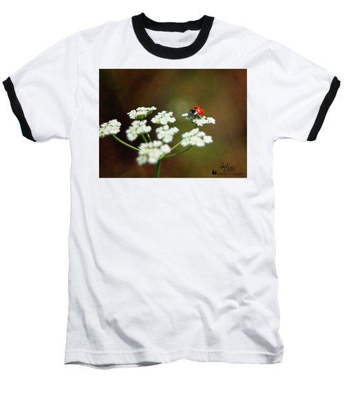 Ladybug In White Baseball T-Shirt