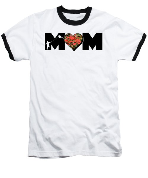 Little Boy Silhouette In Mom Big Letter With Cluster Of Red Roses In Heart Baseball T-Shirt