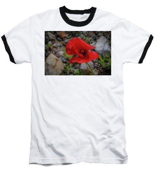 Lone Red Flower Baseball T-Shirt