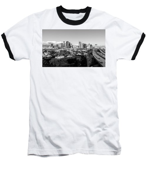 Los Angeles Skyline Looking East 2.9.19 - Black And White Baseball T-Shirt