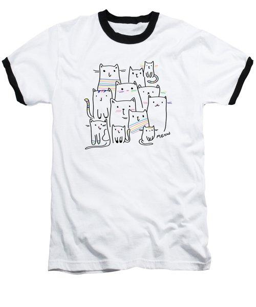 Meow Kitties - Baby Room Nursery Art Poster Print Baseball T-Shirt
