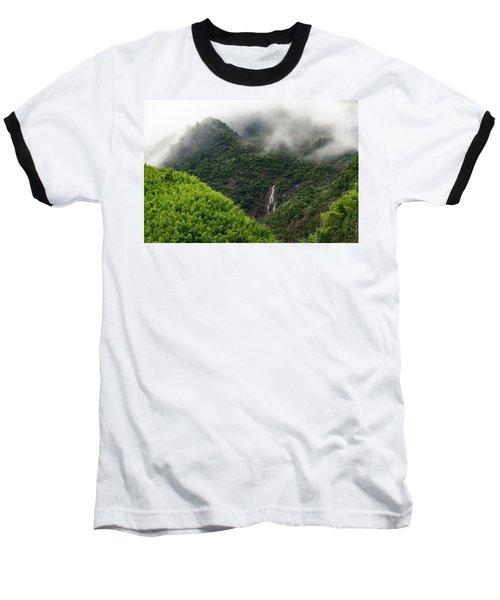 Misty Mountain Waterfall Baseball T-Shirt