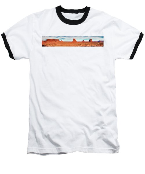 Baseball T-Shirt featuring the photograph Monument Valley Panorama by Andy Crawford