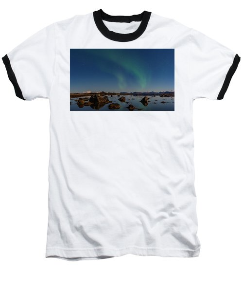 Northern Lights Over A Swamp  Baseball T-Shirt
