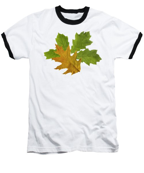 Oak Leaves Pattern Baseball T-Shirt