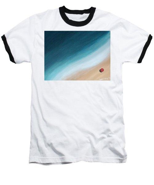 Pacific Ocean And Red Umbrella Baseball T-Shirt