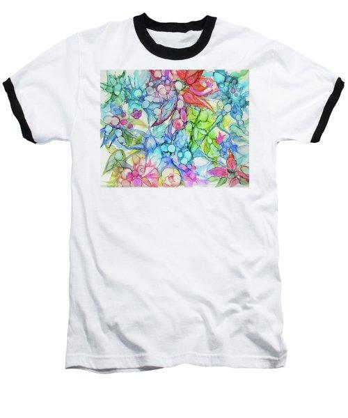 Pastel Flowers - Alcohol Ink Baseball T-Shirt
