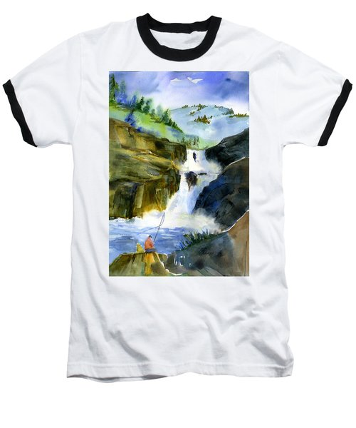 Petroglyph Falls Fishing Baseball T-Shirt