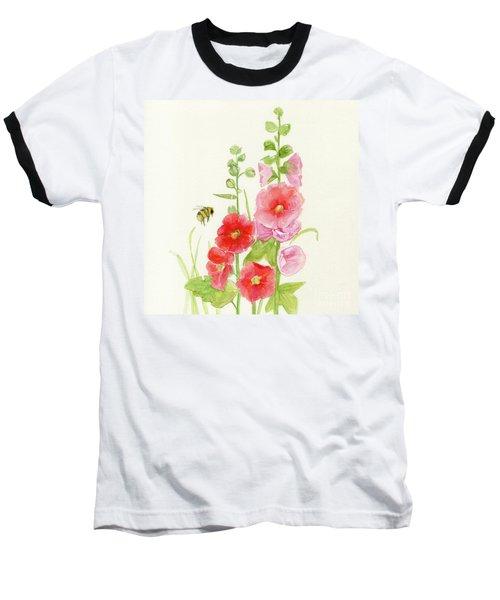 Pink Hollyhock Watercolor Baseball T-Shirt