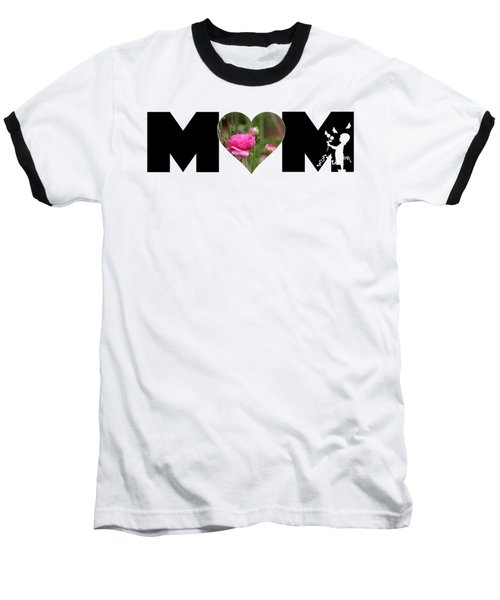 Pink Ranunculus In Heart Mom Big Letter-girls Baseball T-Shirt
