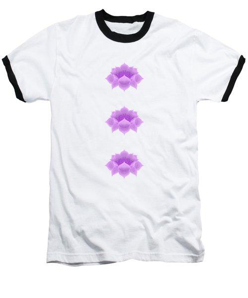 Purple Lotus Pattern Baseball T-Shirt