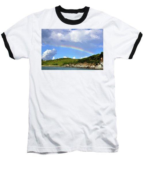 Rainbow Over Buck Island Lighthouse Baseball T-Shirt