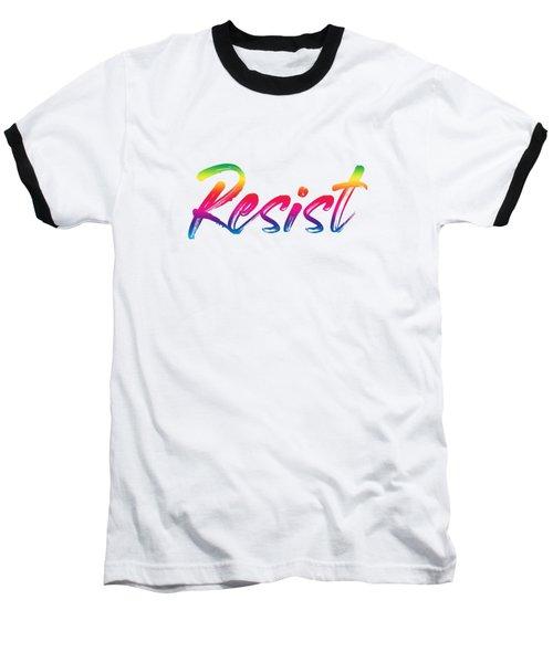 Resist - Rainbow On White Baseball T-Shirt