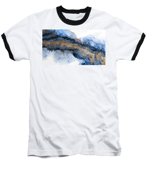 River Of Blue And Gold Abstract Painting Baseball T-Shirt