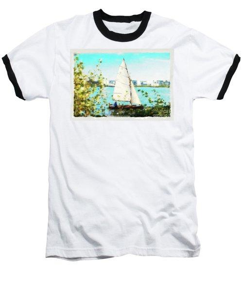 Sailboat On The River Watercolor Baseball T-Shirt