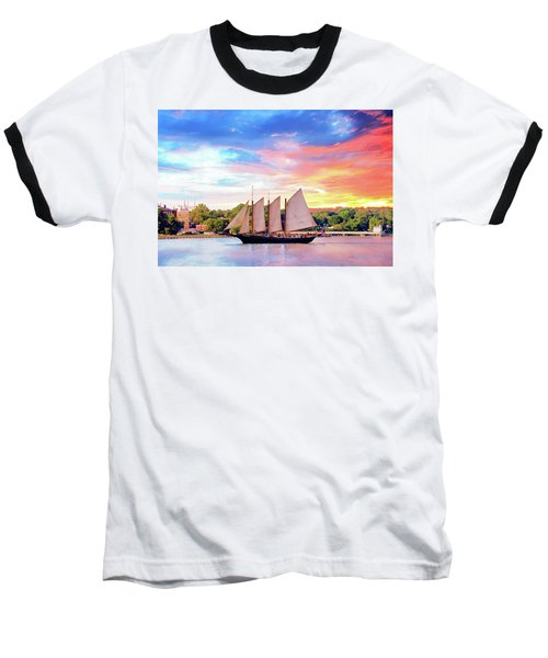 Sails In The Wind At Sunset On The York River Baseball T-Shirt