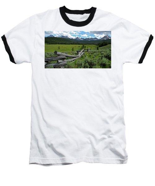 Sawtooth Range And 1975 Pole Fence Baseball T-Shirt