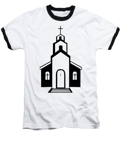 Silhouette Of A Christian Church Baseball T-Shirt