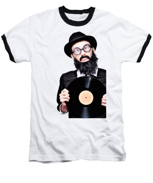 Sixties Retro Rock Man Holding Music Record Vinyl Baseball T-Shirt