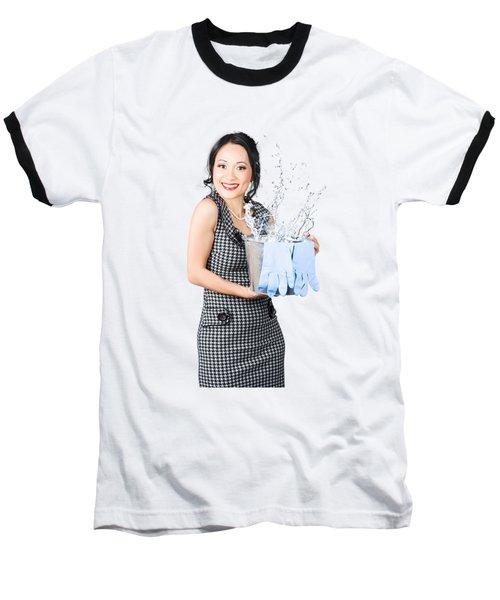 Smiling Female Cleaner Ready To Start Housework Baseball T-Shirt