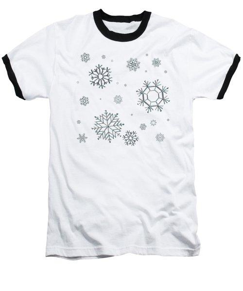 Snowflakes On Blue Baseball T-Shirt
