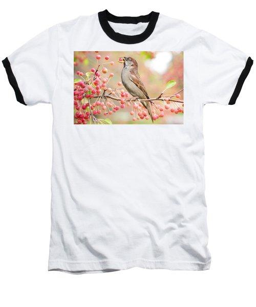 Sparrow Eating Berries Baseball T-Shirt