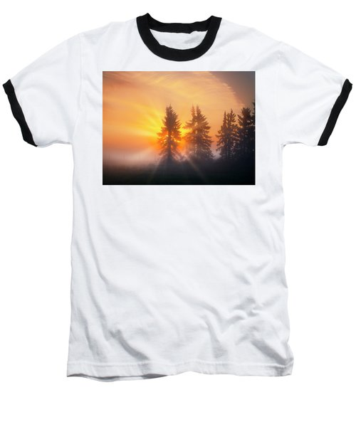 Spruce Trees In The Morning Baseball T-Shirt
