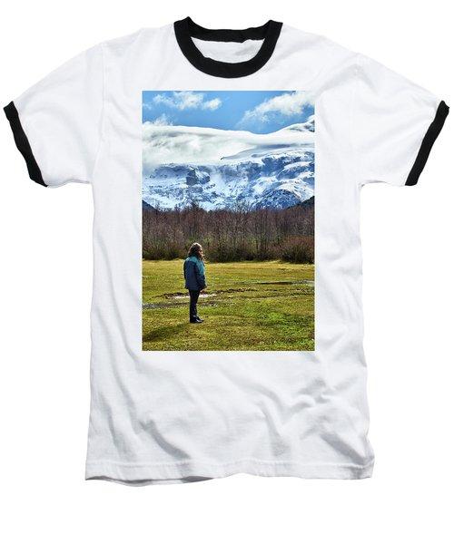 Baseball T-Shirt featuring the photograph Standing Before The Tronador Hill by Eduardo Jose Accorinti